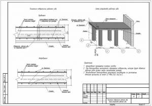 Узлы устройства рабочего шва бетонирования монолитной плиты