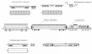 Железнодорожный транспорт (вагоны, платформа, локомотив)