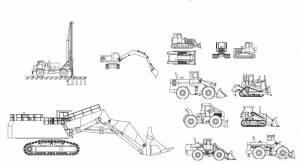 Строительная техника (землеройные машины, погрузчики, бурилка, бульдозер)